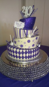 Topsy Turvy Mad Hatter Purple Cake