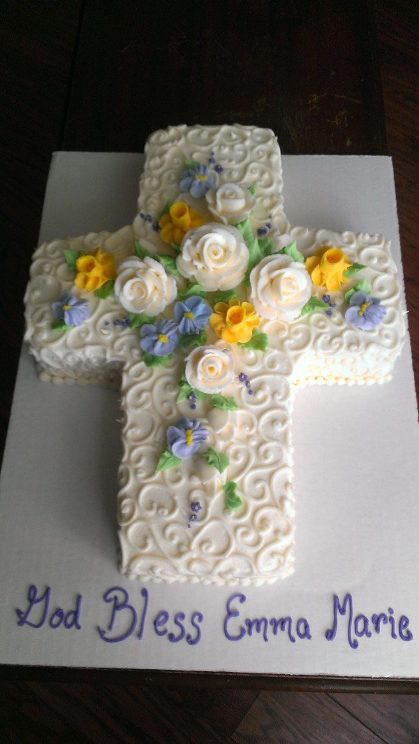 Cross with spring flowers