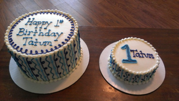 Shades of blue birthday cake with Smash cake
